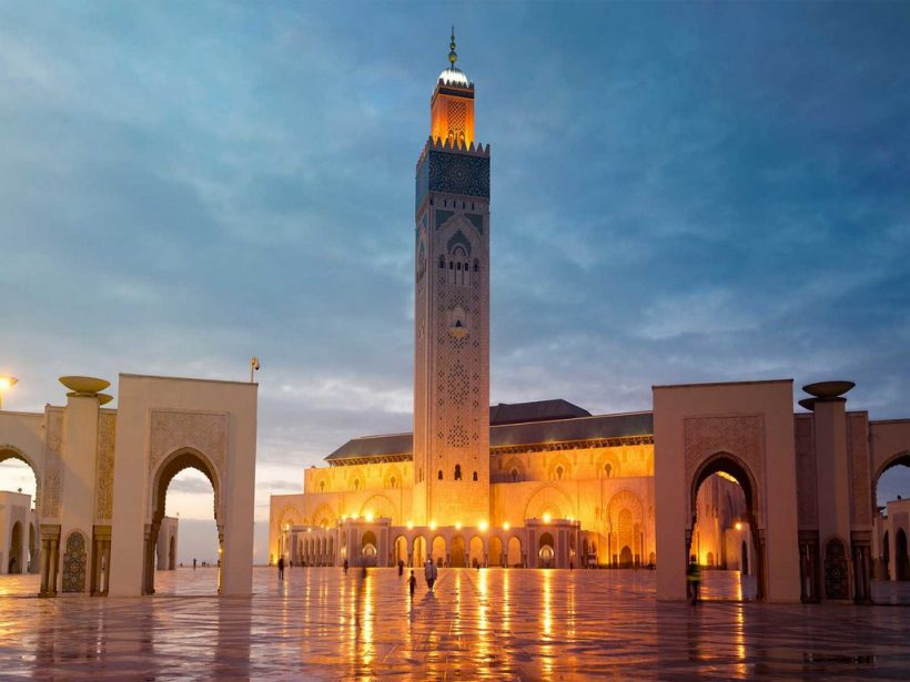 The Hassan II Mosque in Casablanca, Morocco. Night view